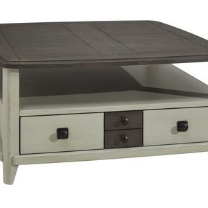 SERAPHINE TABLE BASSE CARRÉE 2 TIROIRS