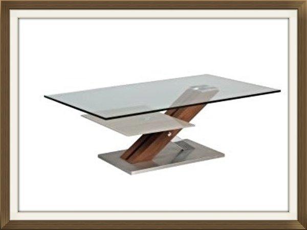 TABLE BASSE VERRE SOCLE BOIS/METAL REF1260